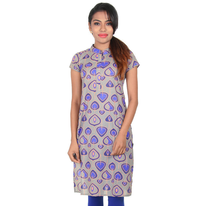 eSTYLe Neutral Grey Gorgeous Petal Prints Straight-Cut Kurta