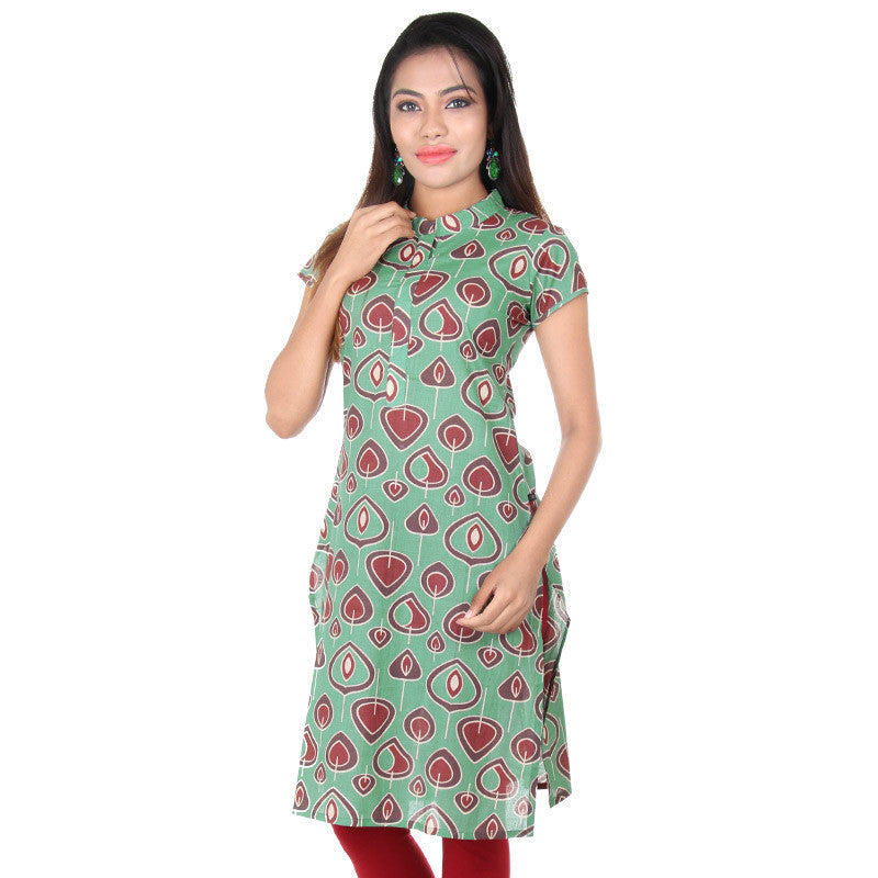 Feldspar Green Mandarin Collar With Placket Slit Kurta From eSTYLe