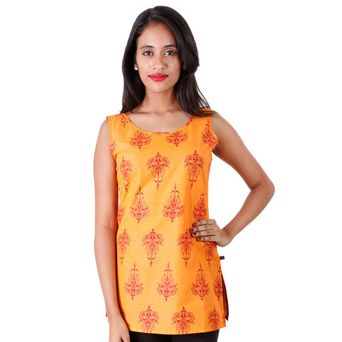 Blazing Orange Sleeveless Printed Short Kurti From eSTYLe