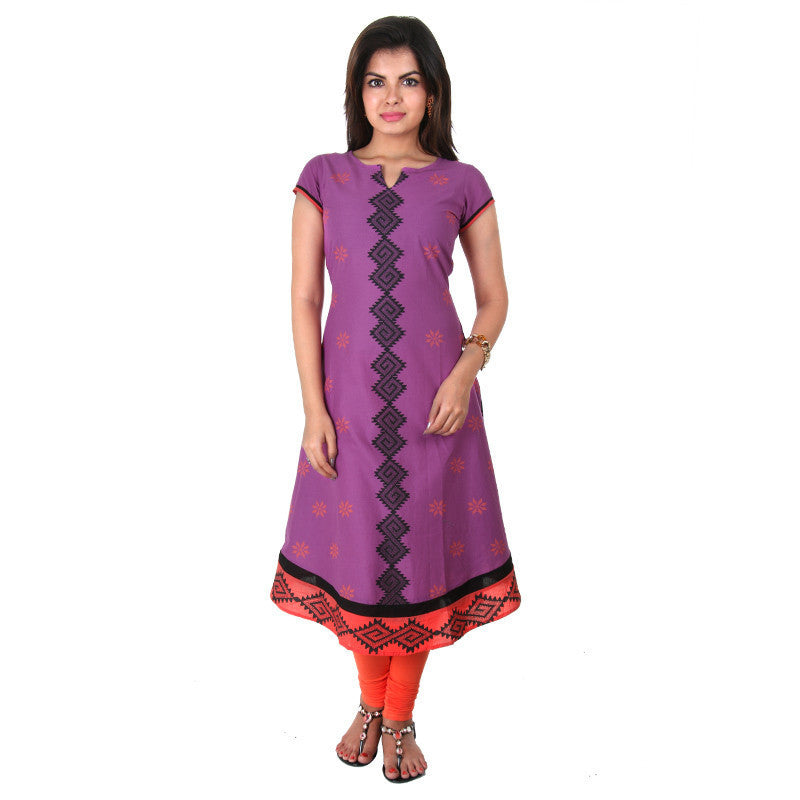 Purple 'N Orange Printed Cotton Anarkali From eSTYLe