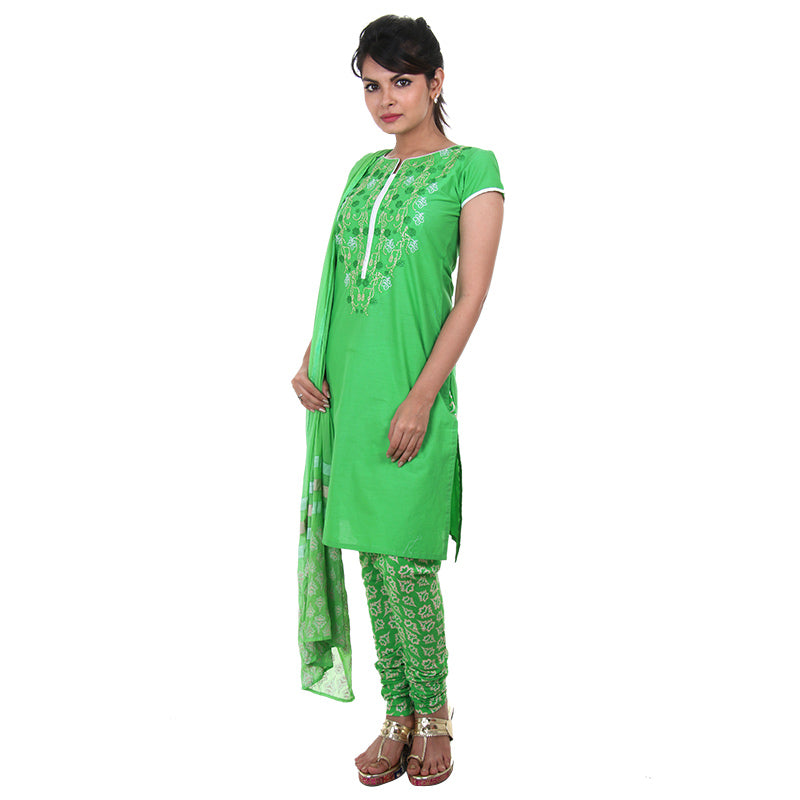 Green Embroidered Cotton Classic Kurta From eSTYLe