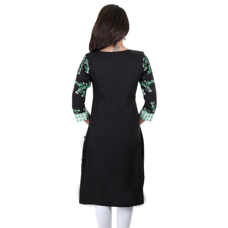 Black Petunias Georgette Kurta From eSTYLe