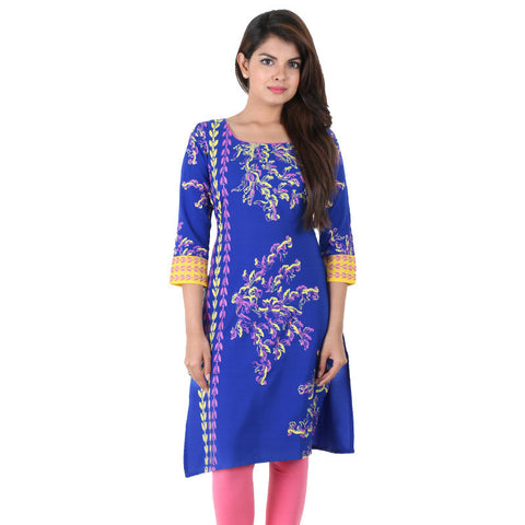 Deep Royal Blue Georgette Kurta With Lurex Cuff