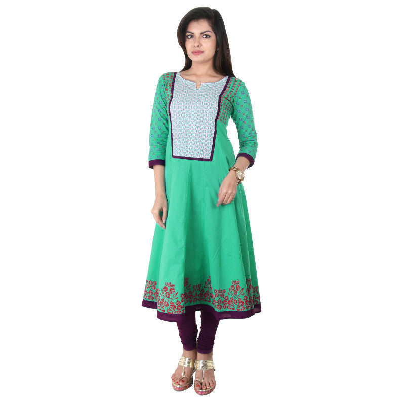 Light Green Casual Cotton Anarkali With Wide Flare