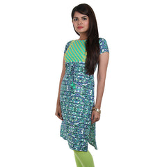 Sea Green Printed Kurta With Rope From eSTYLe