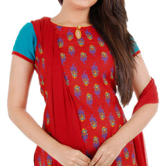 3Pce Suit - Chinese Red Cotton Printed Kurta, Chudi and Cotton Dupatta