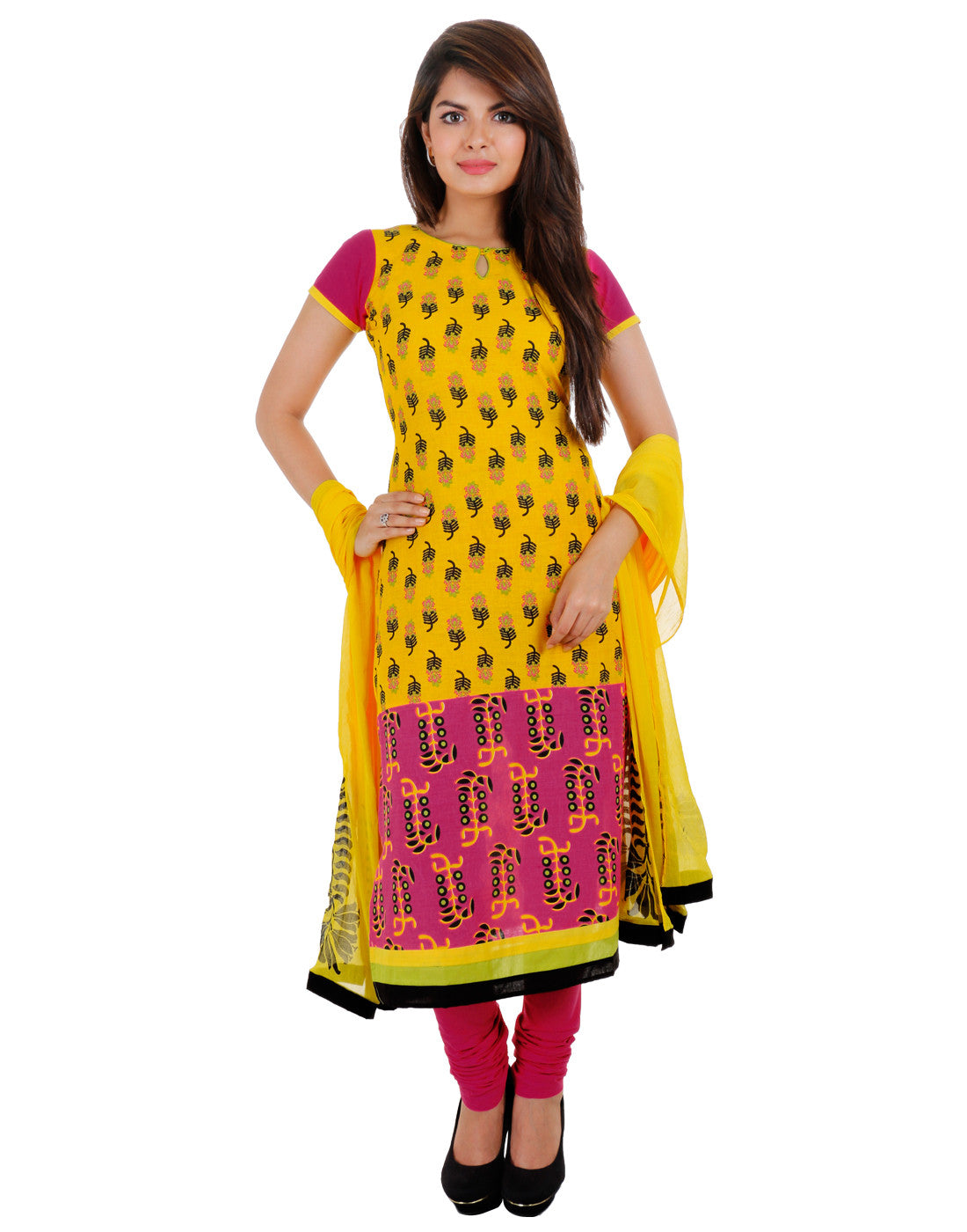 3Pce Suit - Stunning Yellow Cotton Printed Kurta, Chudi and Cotton Dupatta