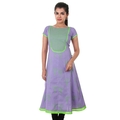 eSTYLe Lavender Cotton Anarkali With Green Neon Prints