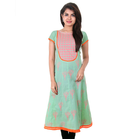 eSTYLe Green Cotton Anarkali With Orange Neon Prints