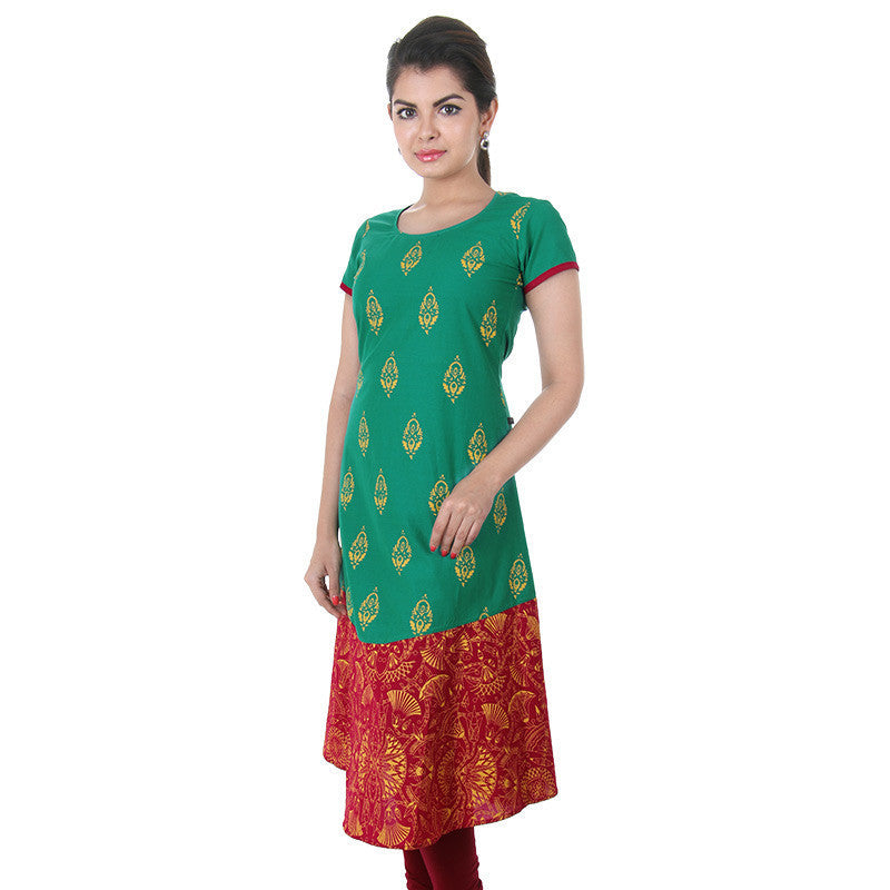 eSTYLe Pale Green Printed Anarkali With Contrast Hemline