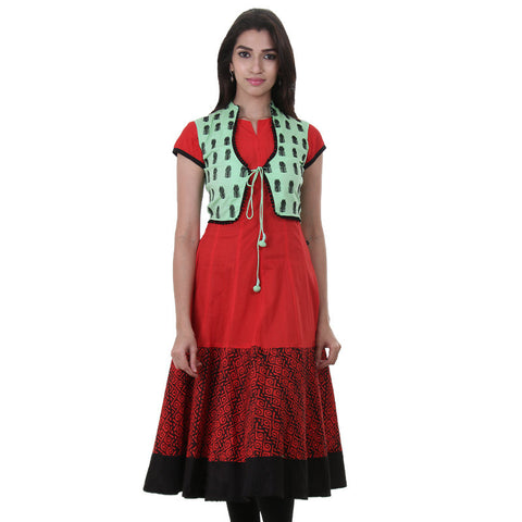Bright Red Casual Cotton Anarkali With Detachable Green Embroidered Coat