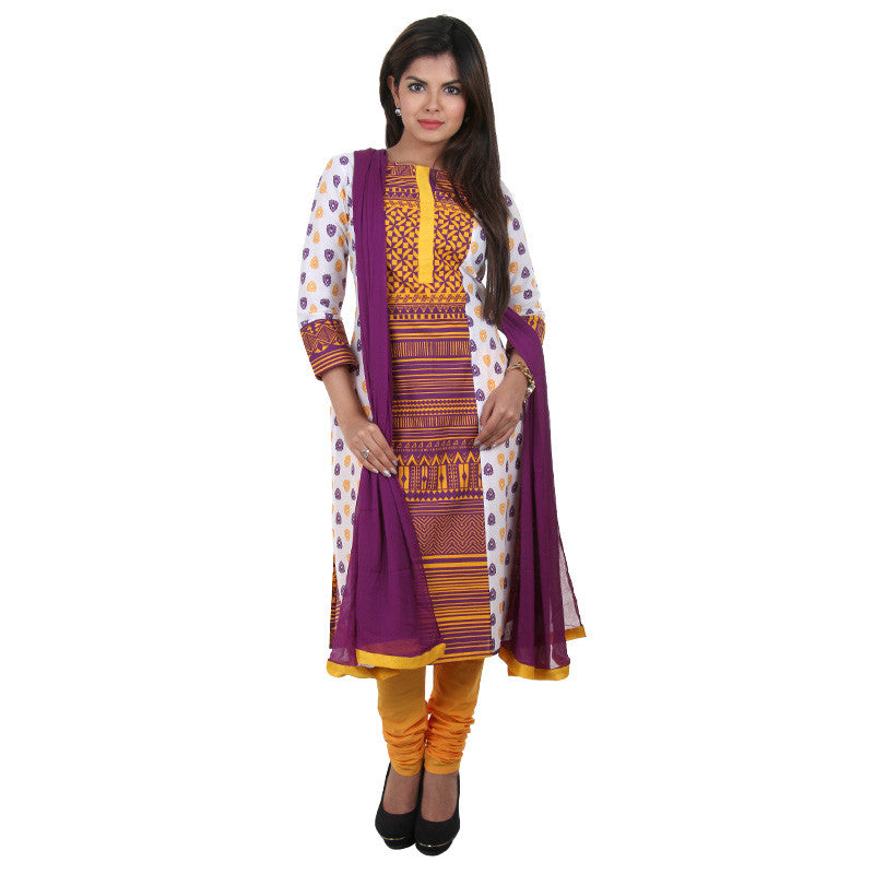 3Pce Set - White Cotton Kurta With Contrast Yellow Printed Yoke With Chudi And Dupatta