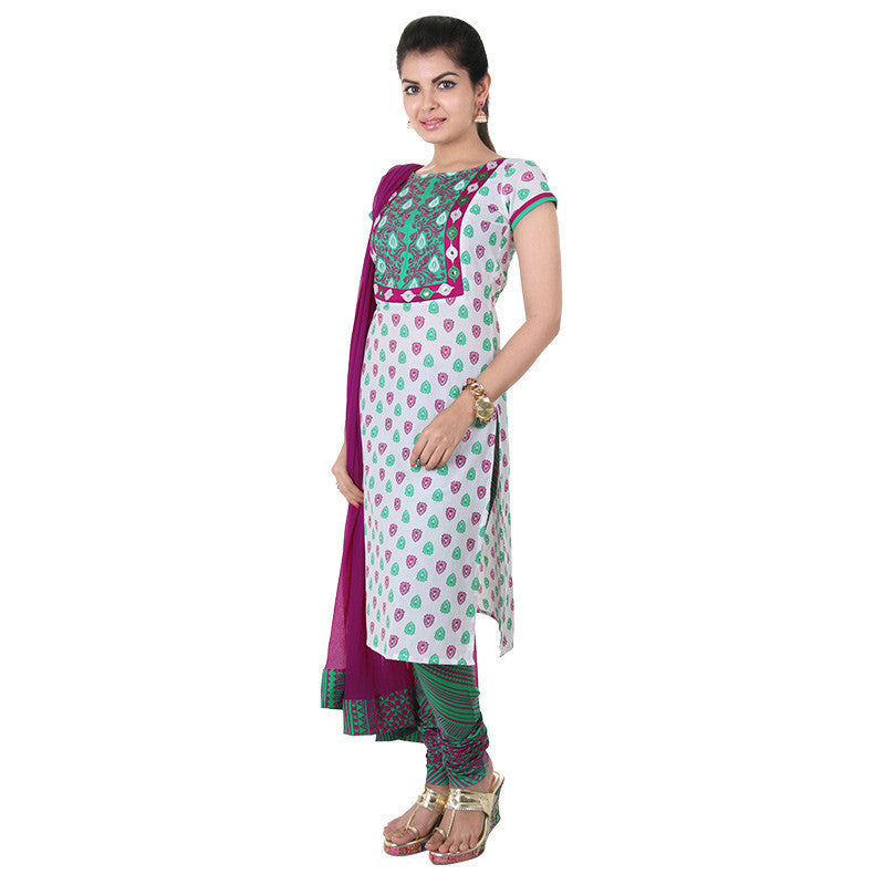 3Pce Suit - Bight Magenta With Green Cotton Kurta With Embroidered Yoke, Chudi and Dupatta