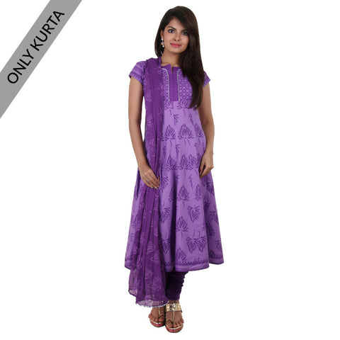 eSTYLe Meadow Lavender Cotton Anarkali