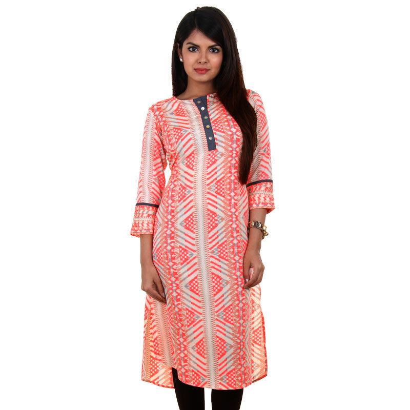 Modern Collection - Neon Pink Printed Kurta With Pleated Cuff From eSTYLe