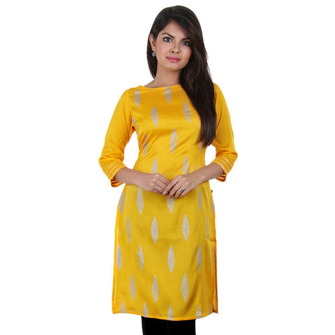 eSTYLe Yellow Crepe Silk Kurta With Stylish Silver Line Prints
