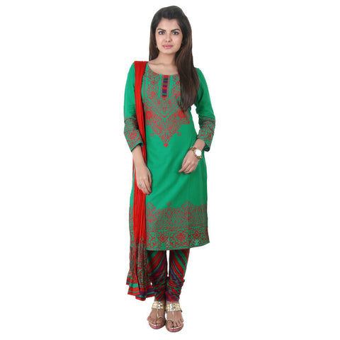 3Pce Set - Green 'N Red Printed Kurta With Printed Chudi And Dupatta