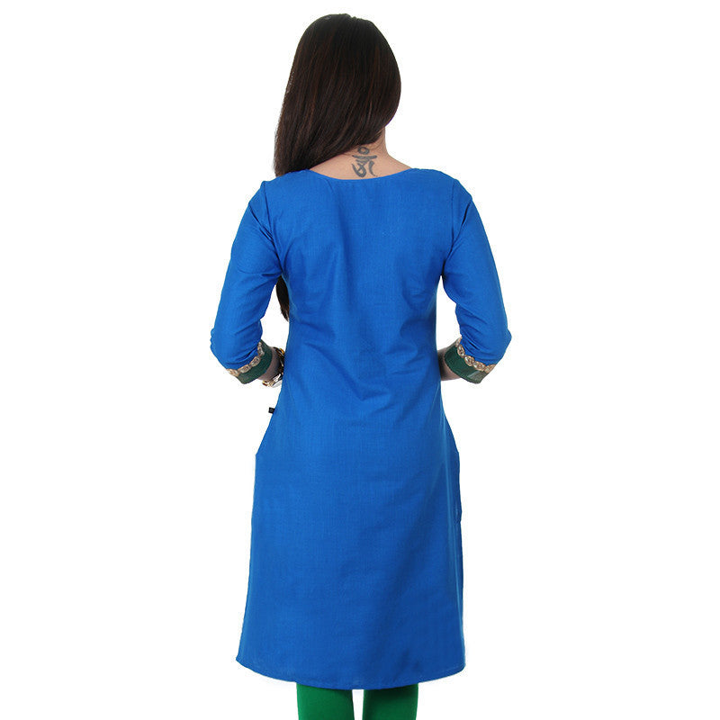 Slub Cotton Blue Kurta From eSTYLe With Golden Rings