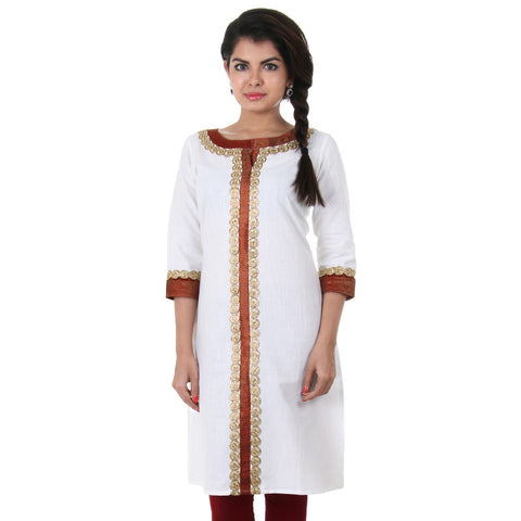 Snow White Slub Cotton Kurta From eSTYLe With Golden Rings
