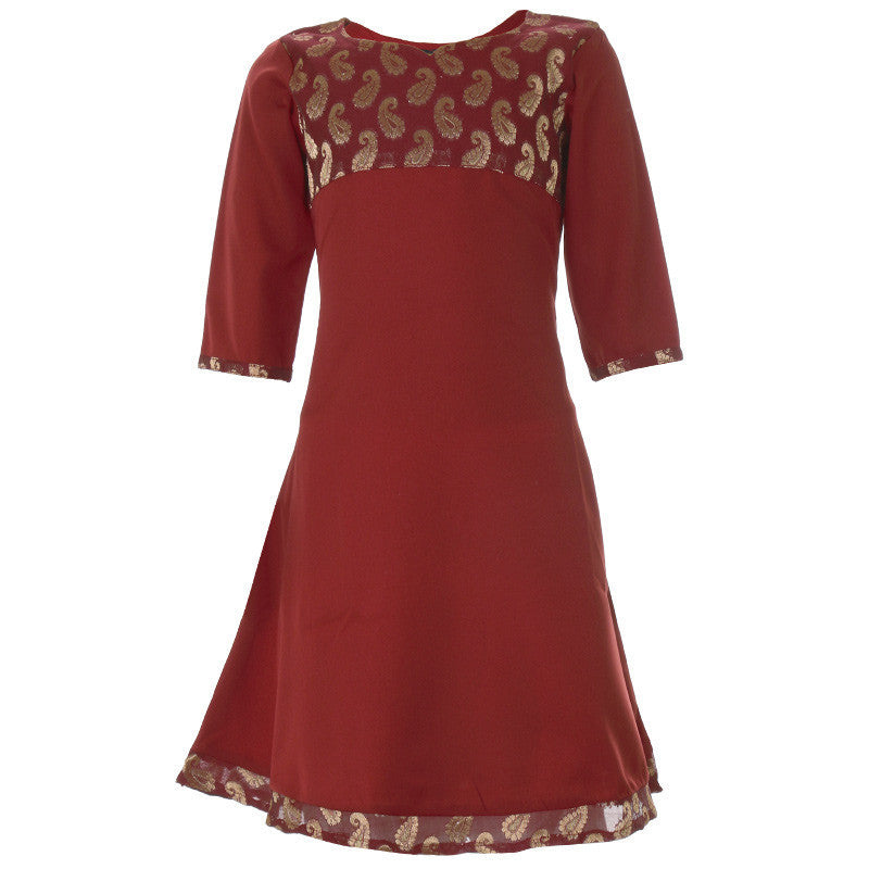 eSTYLe Girls Maroon Anarkali With Brocade Yoke