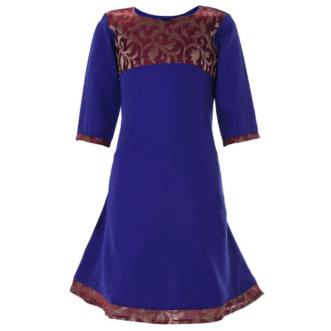 Navy Blue Anarkali With Brocade Yoke For Girls