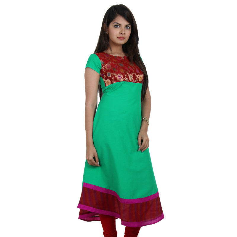 eSTYLe Green And Red Anarkali Kurta With Brocade yoke