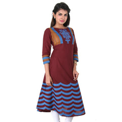 eSTYLe Cotton Maroon Anarkali With Brocade And Print Work