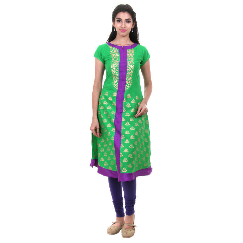 eSTYLe Brisk Green Cotton Anarkali With Golden Prints And Silk Cotton Yoke