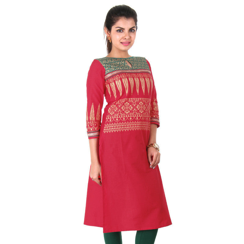 Red Ethnic Casual Cotton Kurta With Stylish Keyhole From eSTYLe