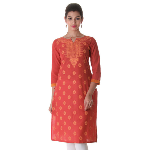 Scarlet Red All-Over Prints Cotton Kurta From eSTYLe
