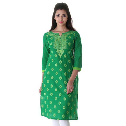 eSTYLe Leaf Green Three-Quareter Sleeves Cotton Kurta