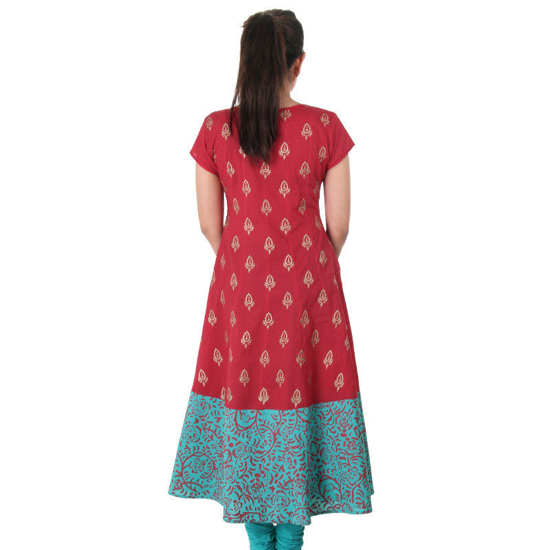 Red Wide Flare Anarkali With Golden Prints From eSTYLe