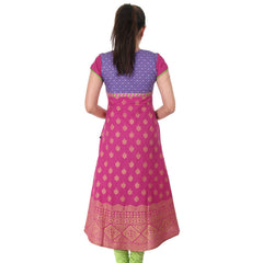 eSTYLe Pink 'N Purple Cotton Anarkali With Golden Prints