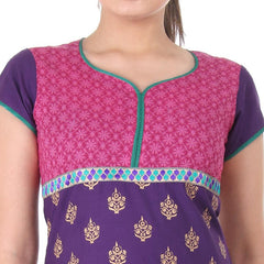 eSTYLe Purple 'N Pink Cotton Anarkali With Lace Work