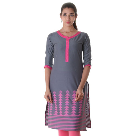 Dusty Blue Cotton Printed Cotton Straight Cut Kurta