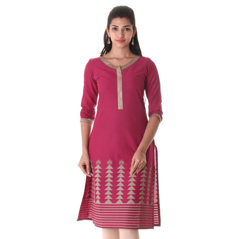 Red Bud Cotton Printed Cotton Straight Cut Kurta