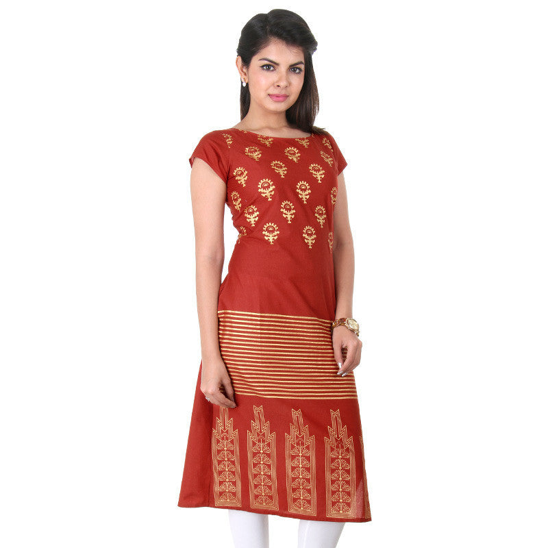 Casual Cotton Kurta In Brown With Golden Prints From eSTYLe