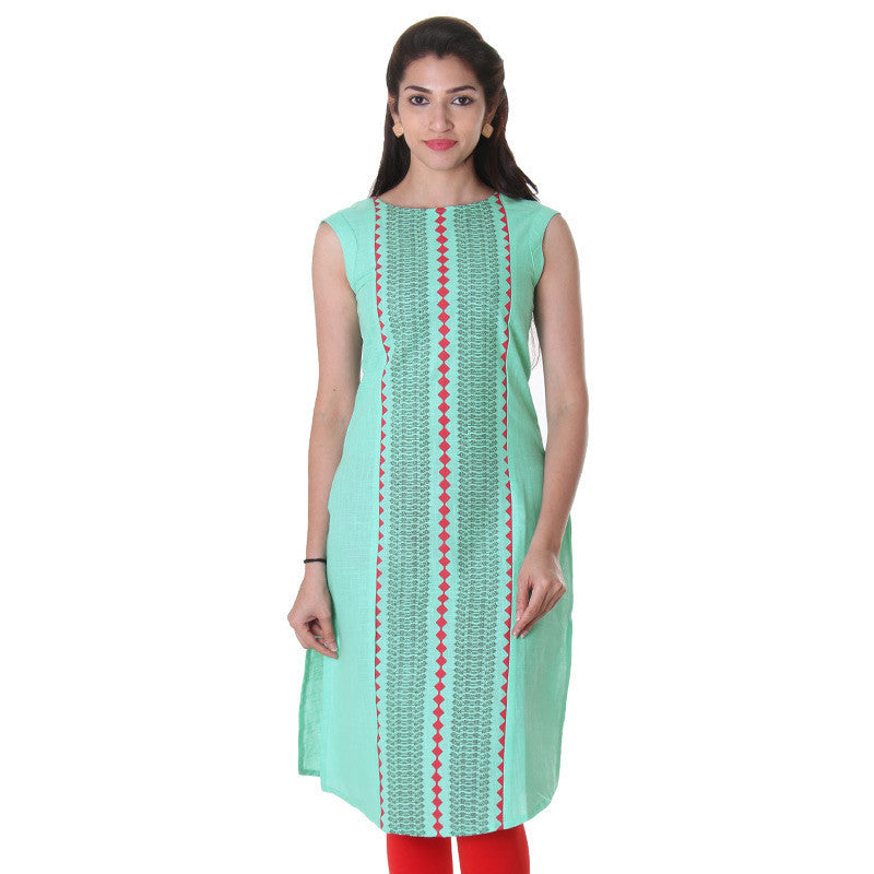 Opal Green Sleeveless Kurta With Elegant Prints From eSTYLe