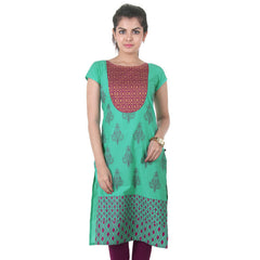 eSTYLe Apple Green Printed Kurta With Golden Printed Yoke