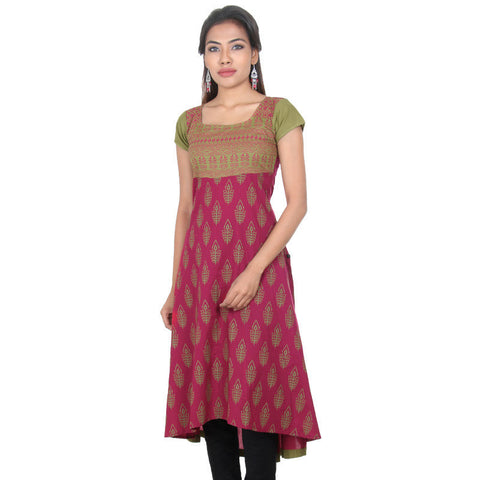 eSTYLe Deep Claret Red & Mild Green Printed Wide Flare Cotton Anarkali