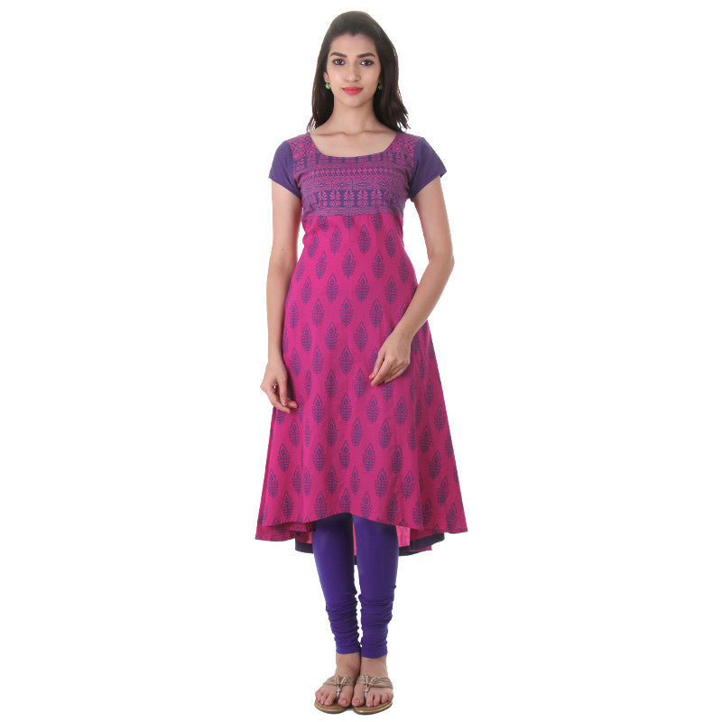 Beetroot Purplish Pink With Blue Printed Wide Flared Cotton Anarkali From eSTYLe