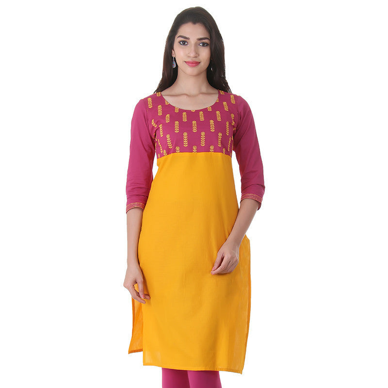 eSTYLe Cotton Bright Yellow 'N Magenta Kurta With Embroidered Yoke