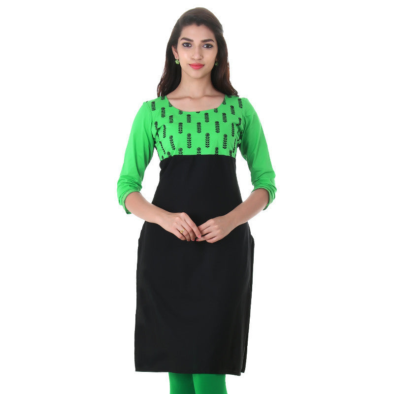 Casual Cotton Black 'N Pitch Green Kurta With Embroidered Yoke