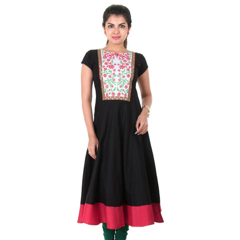 eSTYLe Cotton Black Wide Flare Anarkali With Floral Embroidery On The Yoke
