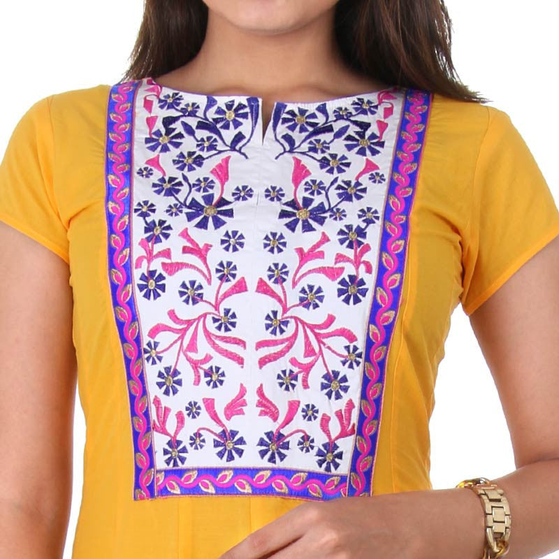 Stylish Cotton Yellow Wide Flare Anarkali With Floral Embroidery On The Yoke