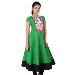 Bright Green Wide Flare Anarkali With Floral Embroidery On The Yoke From eSTYLe