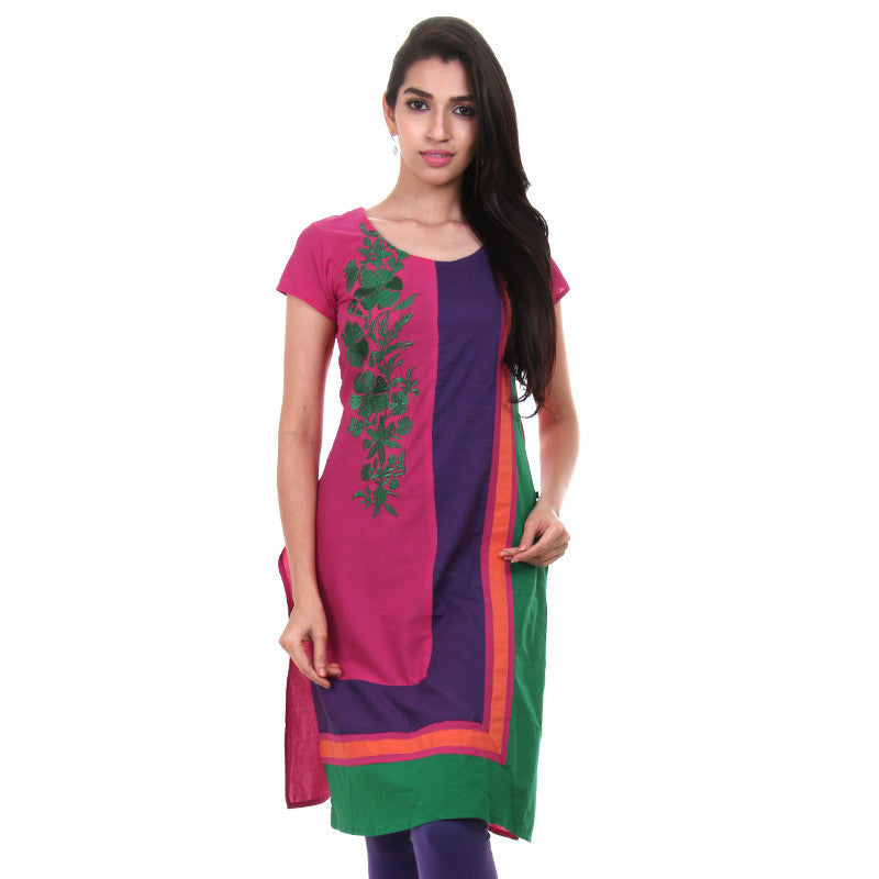 eSTYLe Magenta Cotton Kurta With Multicolor Sides