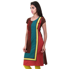 eSTYLe Brown Cotton Kurta With Side Wise Embroidery