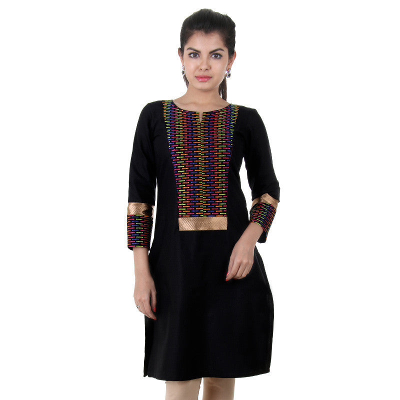 eSTYLe Slub Cotton Black Kurta With Colourful Thread Work