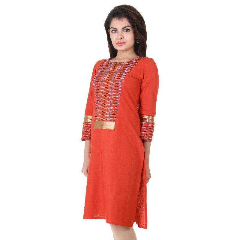 Rusty Brown Slub Cotton Kurta From eSTYLe With Colourful Thread Work